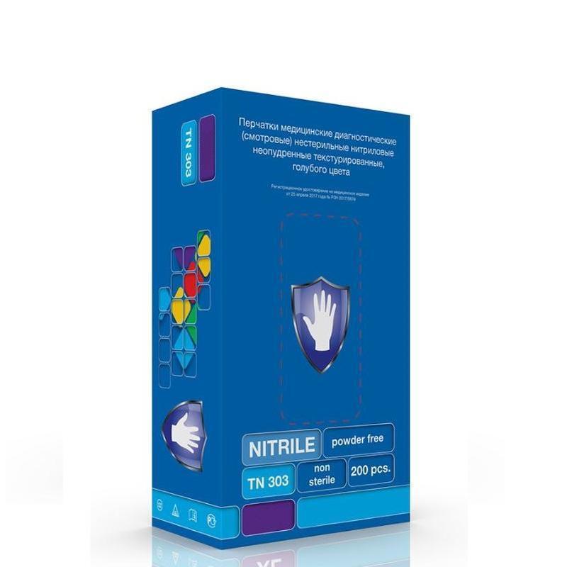Мед.смотров. перчатки нитрил., н/с, н/о, S&C TN303(L) 100 пар, голубой
