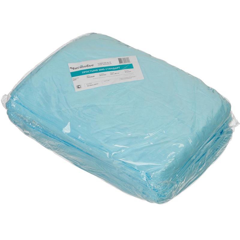 Простынь гигиен, 200x80, смс Стандарт, голубой 20 шт/уп (Чистовье)(ТК-40уп)