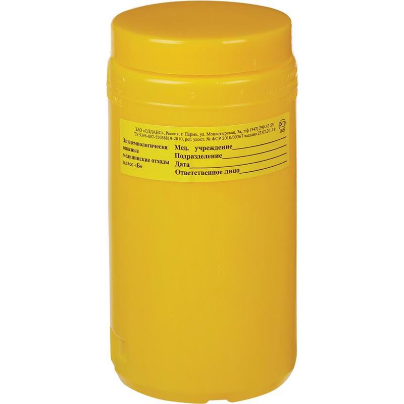 Упаковка д/сбора мед.отходов Емк-контейнер с иглоотсек. Б Желт. 1,5 л (Олданс)