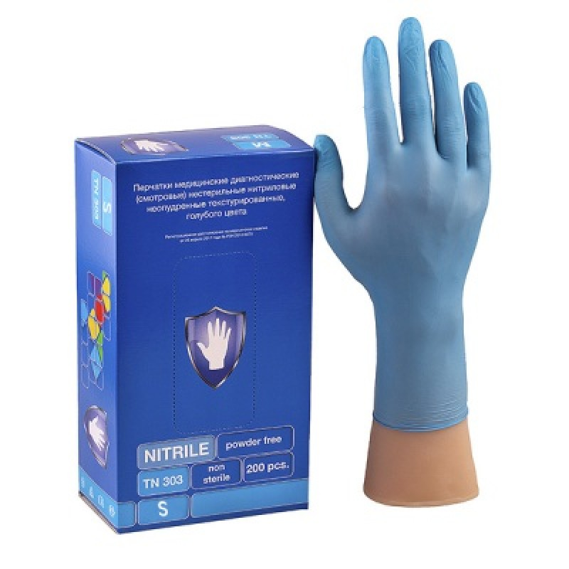 Перчатки смотровые нитриловые голубые TN303 (S) (100пар/уп