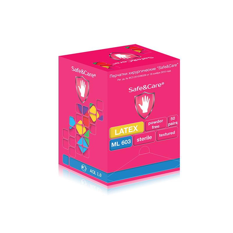 Перчатки Safe&Care хир. стер. н/о ПАФ ML 603(р.8.0) 50 пар. Упаковка
