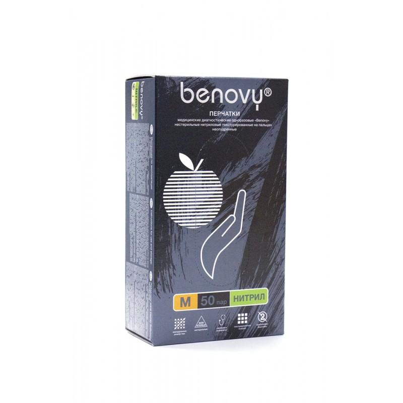 Нитриловые перчатки benovy неопудренные (M размер) коробка 50 пар.
