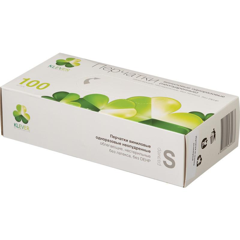 Перчатки Виниловые смотровые гладкие н/c н/о KLEVER L (50 пар упаковка)